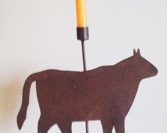 Rustic Metal Cow Candle Holder