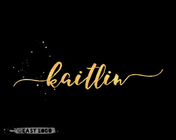 Simple gold calligraphy logo design signature text only