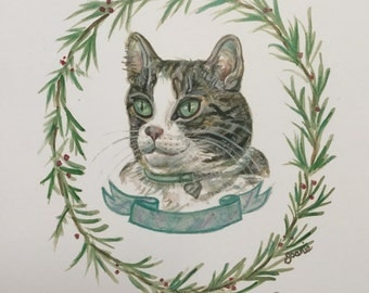 Tabby Cat portrait, customize with Cats name