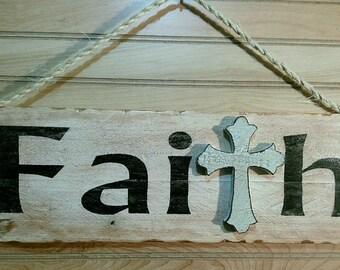 """Rustic """"Faith"""" Reclaimed Wood Sign"""
