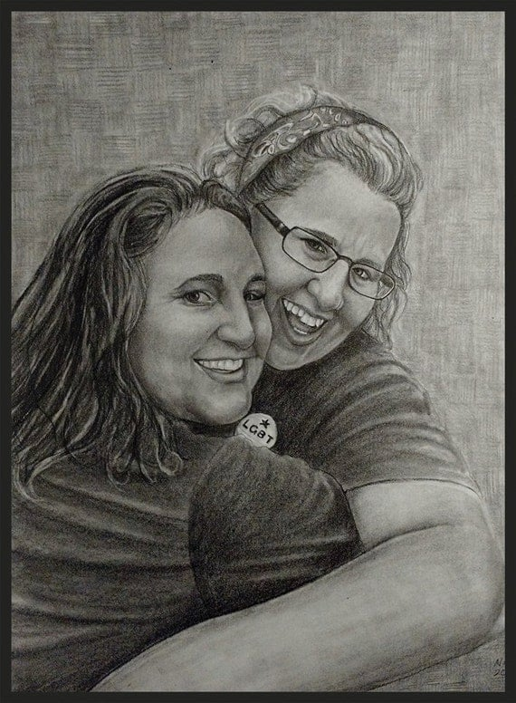 Custom portrait drawn from your photo.  Drawn by an Award-Winning Artist! Free shipping.