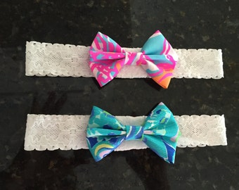 BOW LACE HEADBAND Lilly Pulitzer Fabric Bow Reef Retreat Spring 2016