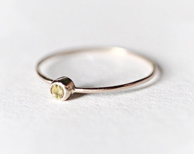 Diamond gold ring White Gold ring Yellow stone ring Natural stone ring Mini ring Engagement ring Womens ring Gift idea