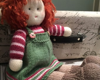 Handmade Knitted Doll / Soft Toy / Greens and Pinks