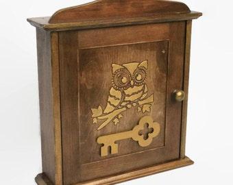 Owl Key cabinet Wooden Key holder Key holder Owl key box cabinet Key organizer Key cabinet owl Gift Home decor owl Wall decor Owl decoration