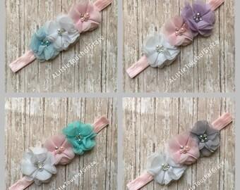 Sale.Pick your color.Chiffon headband . Gray and lt pink baby headband. Newborn .take me home headband