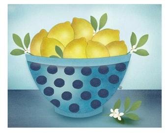 """Modern Folk Art Still Life Giclee Print """"Fresh Lemons"""""""