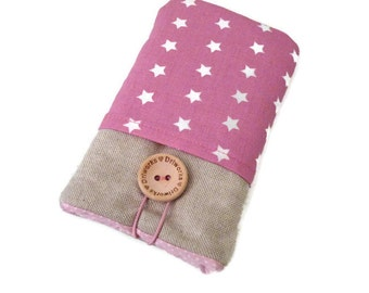 iPhone 6s Plus Fabric Pouch iPhone 5S Sleeve  iPhone 6s Case iPhone SE iPod Touch 6g pouch cell phone pouch pink stars pockets
