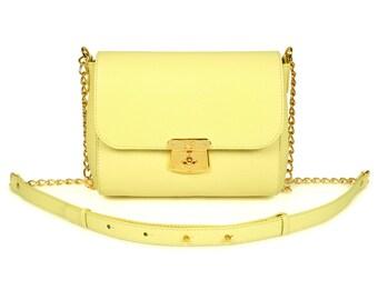 Leather Crossbody Bag, Yellow (lemon) Leather Shoulder Bag, Women's Leather Cross body Bag, Leather bag KF-540