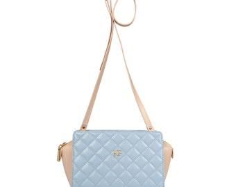 Leather Cross body Bag, Lilac-blue (serenity) Leather Shoulder Bag, Women's Leather Crossbody Bag, Leather bag KF-555