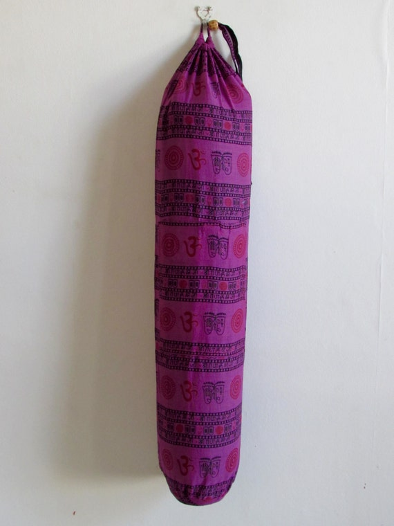 Yoga Mat Bag Pilates Mat Bag Cotton Purple Colour Om Ohm Aum handmade Block print Light weight Free Gift Choice (L7) Free UK Delivery