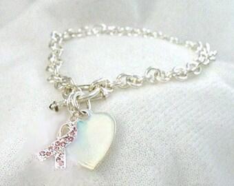 Silver Breast Cancer Bracelet,bracelet,breast cancer survivor,cancer bracelet,survivor bracelet,pink cancer bracelet,pink ribbon bracelet