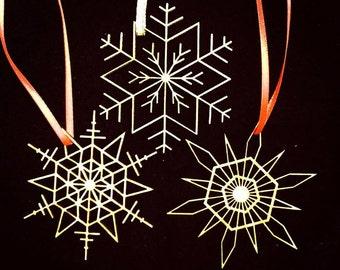 Laser Cut Geometric Snowflakes