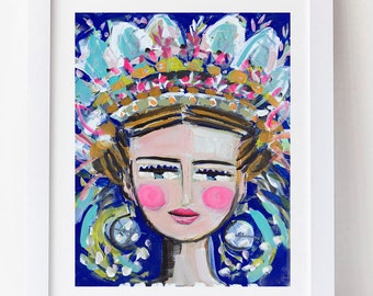 Warrior Girl Print woman art impressionist modern abstract girl paper or canvas
