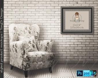 Living Room #16 Vintage Interior, 8x10 11x14 Old Black Silver Portrait & Landscape Frames, 4 Print Display Mockups PNG PSD PSE Custom colors
