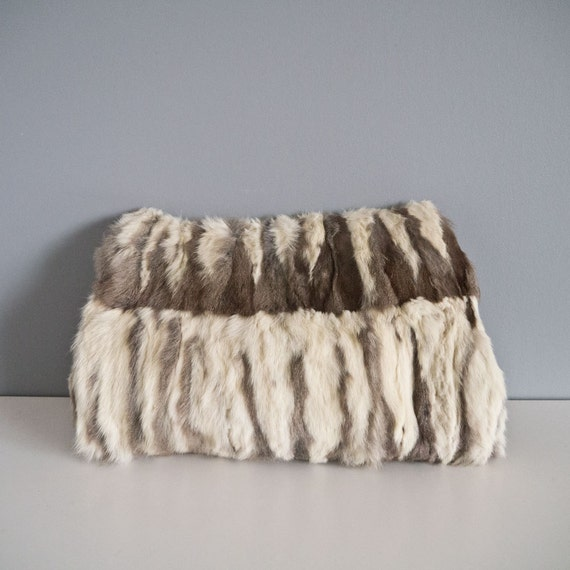 Beautiful Mid Century Fur Muff Hand Warmer with Zipper Pocket / Purse