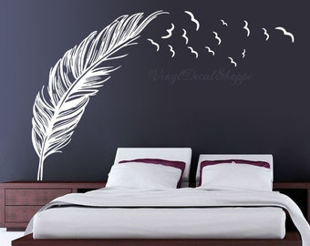Birds Flying From Feather Decal, Bird Feather Decal, Feather Wall Decal,  Feather Decal