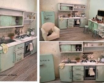 Miniature Dollhouse FULL KITCHEN Vintage Style-Miniature kitchen