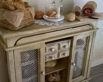 Miniature Dollhouse KITCHEN CUPBOARD with accessories-kitchen CUPBOARD with accessories