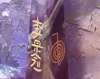 """2.5"""" Solid AMETHYST CRYSTAL TOWER, Usui Reiki Sanskrit Engraved 4 Sided Energy Wand, Obelisk"""