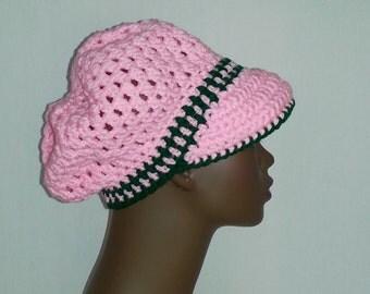Crochet Newsboy Hat, AKA - Alpha Kappa Alpha Sorority Pink and Green Newsboy Hat, Womens Newsboy Hat, Women's Winter Hat, Made To Order