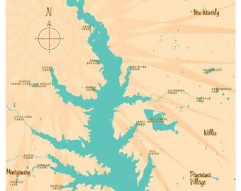 Lake Conroe, TX Map Print