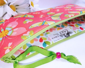 Butterflies Pencil Case, Hearts Print Pencil Pouch, Multipurpose Zipper Pouch, Cute Cosmetic Pouch, Makeup Pouch, Cosmetic Bag