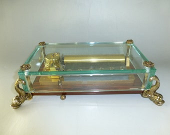 EXC Vintage Reuge Music Box CH 3 / 72. Beautiful Crystal Clear Glass Brass Feet Case Model ( Watch The Video )