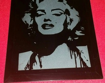Marilyn Monroe Hand Sand Carved Glass Mirror