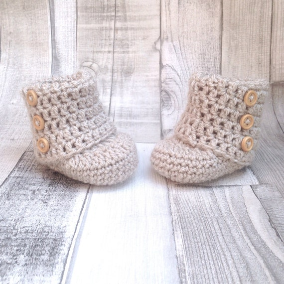 Gender neutral booties crocheted boots gender neutral booties photo prop baby shower newborn 0-3 3-6 stone beige boots baby shoes gift prese