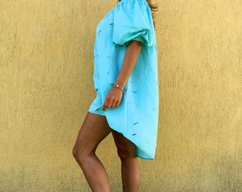 Tunic/cotton tunic/extravagant tunic/light blue tunic/oversize tunic