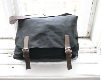 Messenger bag Canvas Black Cotton Metal zipper Leather Present for man or women