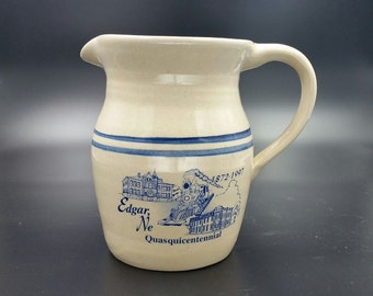 Vintage Marshall Pottery Blue Stripe Stoneware Pitcher Signed Brian Miller Texas Printed Edgar Nebraska