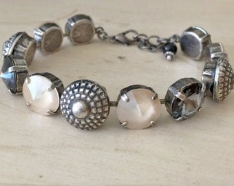 Rope Dome Ivory Cream, Graphite, and Silver Night Crystal Bracelet