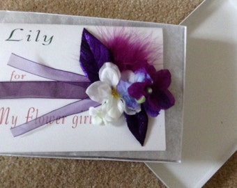 Purple Corsage bridesmaid flower girl or birthday gift with hand made card