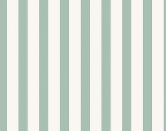 SALE!! 1 Yard Apricot and Persimmon by Carina Gardner for Riley Blake Designs- 4905 Mint Stripe