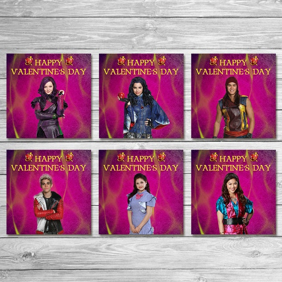 The Descendants Valentine's Day Cards Pink Purple/ The Descendants Valentine's Day Party / The Descendants Valentines Favors / Mal and Evie