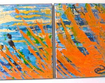 "Original Abstract Diptych, 2 8x10 inch Canvases ""Places"", mixed media in Blues, Orange, with beige, green and black"