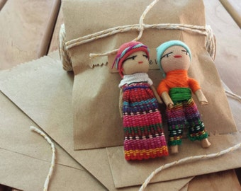 Little Indito Dolls | Guatemala Worry Dolls | Quita Pena | Set of 2 Male and Female | Rare Male Worry Doll