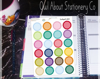 Blank Scalloped Labels in Erin Condren Vertical Colors - HSBSVL