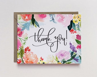 Watercolor Floral Thank You A2 Greeting Card