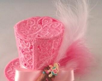 Pink Lace Top Hat Feathers Ice Cream Cone Dessert Charm Lolita Cosplay Kawaii Halloween Costume