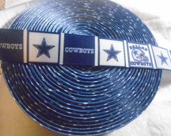 5 yards of  Dallas Cowboys 1 Inch wide grosgrain ribbon