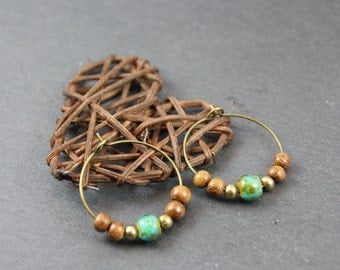 smart ethnic hoop earrings, bronze, bayong wood, turquoise glass beads