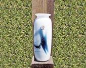 1987 Holmegaard Atlantis Vase Michael Bang Design 7.5 Inch Cased Glass Copenhagen Denmark Original Sticker