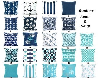 OUTDOOR Pillow Covers, Aqua Navy Blue Decorative Throw Pillows Nautical Pillows Beach Decor Patio Sun room One or More Mix & Match All Sizes