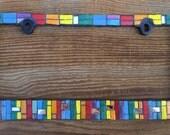 Car Jewel (Rainbow Crayon) -handmade mosaic glass car license plate frame