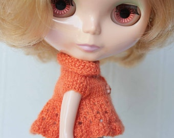 Orange Blythe jacket Middie clothes PukiFee knit outfit Orange doll clothes Hand knitted blythe outfit Doll knitting Orange doll dress knit