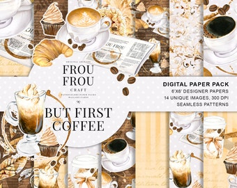 Coffee Paper Pack Coffee Scrapbook Paper Watercolor Coffee Shop Digital Background Seamless Patterns Desserts Planner Supplies Coffee Lovers