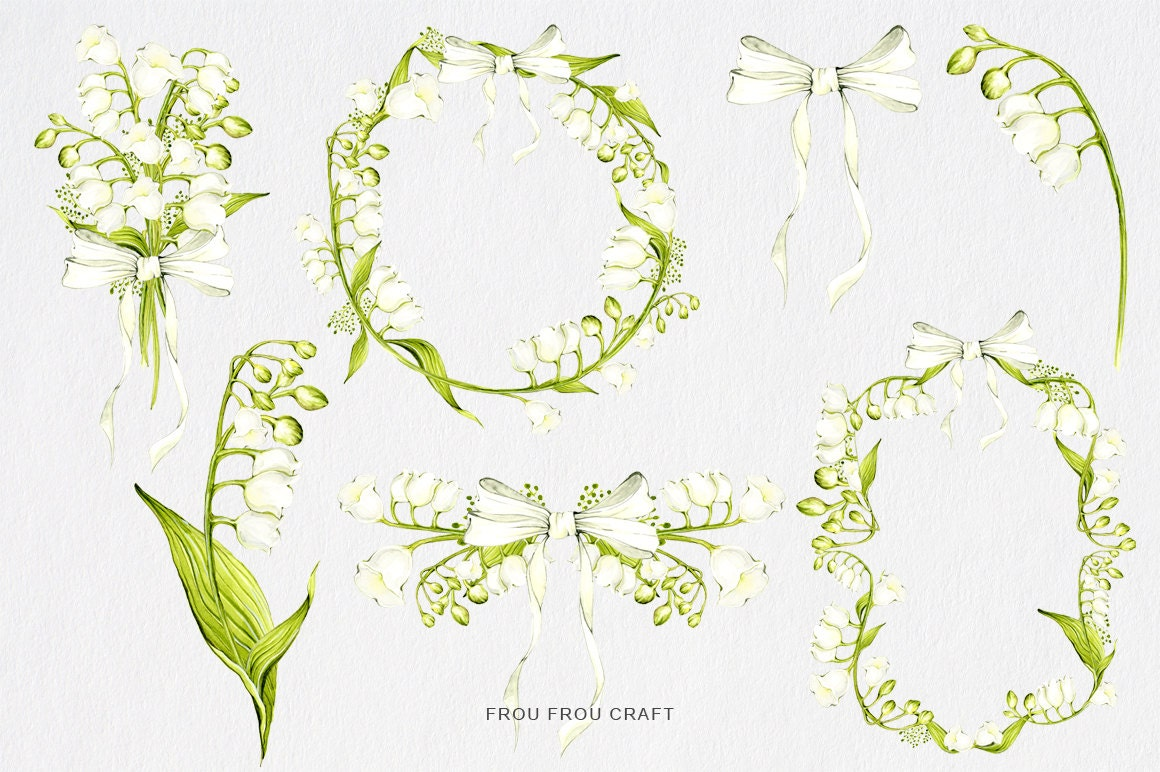 Lily Of The Valley ClipArt Watercolor Flowers Wedding DIY Pack ...